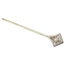 Circa 1900 Northstar Shape 18K Yellow and White Gold Stick Pin