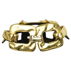 Vintage YSL Yves Saint Laurent Limited Edition Chunky Hammered Gold Link Bracelet