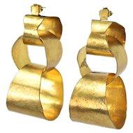 Vintage 1980s Herve van der Straeten Large Hammered Gold Plate Earrings