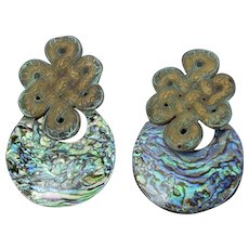 1980's Large Stephen Dweck Patinated Sterling Abalone Asian or Celtic Knot Earrings