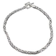 Vintage Lois Hill Heavy Square Braided Sterling Silver Necklace w Toggle Clasp