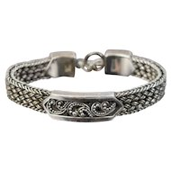 Vintage Lois Hill Granulated Scroll Braided Sterling Silver Bracelet