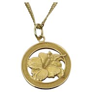Vintage 14k Solid Yellow Gold Hibiscus Flower Charm Pendant Necklace 14k Chain