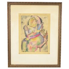 Jankel Adler Early Polish Jewish Modernist Abstract Portrait Woman Watercolor