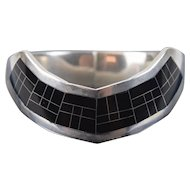 Vintage Modern Mexican Sterling Silver Double Hinge Bracelet Onyx Grid Inlay