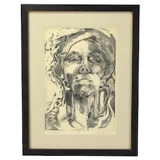 Vintage Abstracted Self Portrait Etching Print signed Sue Lawton