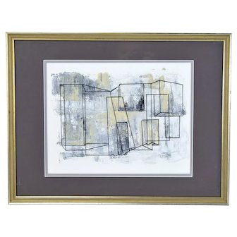 Vintage Modernist Geometric Abstract Gouache Painting Patricia Armato