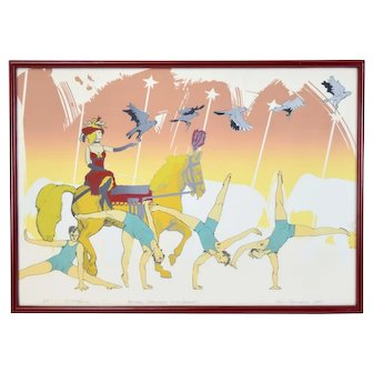 Vintage 1980 Modern Circus Scene Gymnasts Lithograph Signed Sam Squiers