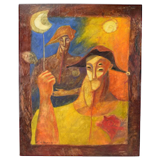 Vintage Bizarre Mixed Media Painting Two Male Figures w/ Hats Carnival of Venice