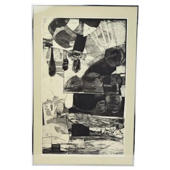 Vintage Abstract Etching Dark Shapes Artist Proof sgnd Marcy R. Edelstein