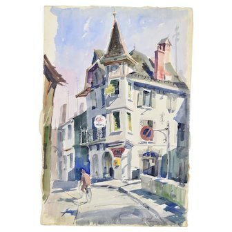 """George Botich """"Cafe St. Michel"""" Martigny Switzerland Watercolor Painting"""