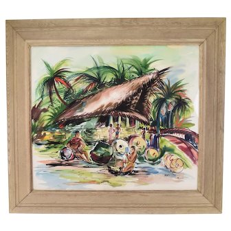 Large 1950's Tahitian Polynesian Watercolor Painting signed Monti