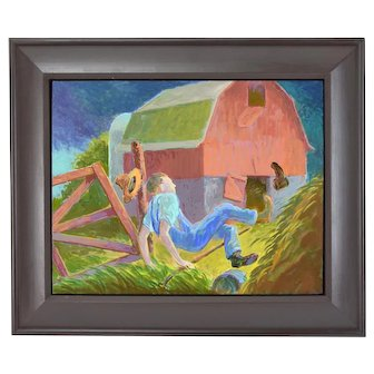 """Randall Berndt """"The Farmer and the Storm"""" Painting on Board Wisconsin Artist"""