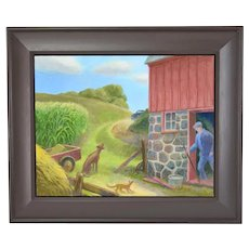 "Randall Berndt ""The Bachelor Farmer"" Painting on Board Wisconsin Artist"