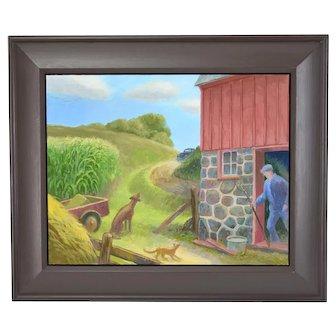 "Randall Berndt ""The Bachelor Farmer"" Painting on Board Wisconsin Artist"