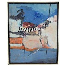 Vintage Mid-Century Modern Abstract Oil Painting signed Lumak