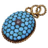 Antique Victorian 18k gold w Turquoise Pave & Diamond Locket Pendant