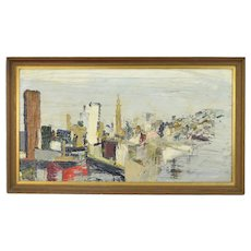 Vintage Mid-Century Modern Oil Painting Cityscape Skyscrapers