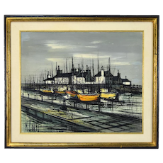 Vintage Mid-Century Modern Abstract Painting Boats in Harbor Michel Girard