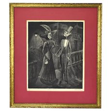 """Vita Castro Vintage Mexican Mid-Century Day of the Dead Etching """"Happy Couple"""""""