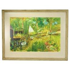 1930's Francis Chapin Watercolor Painting Harbor Marina w Sailboats