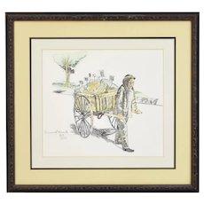 Samuel Kunda Limited Edition Etching Hand Colored Fruit Cart Peddler Jewish Artist