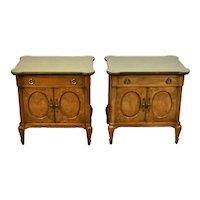Pair Mid-Century Mastercraft Burlwood Nightstands End Table Cabinets