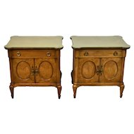 Pair Mid-Century Mastercraft Burlwood Nightstands End Table Cabinets
