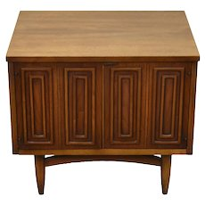 Vintage Mid-Century Modern End Table Cabinet Geometric Pattern Doors