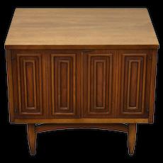 Vintage Mid-Century Modern End Table Cabinet Geometric Pattern Doors