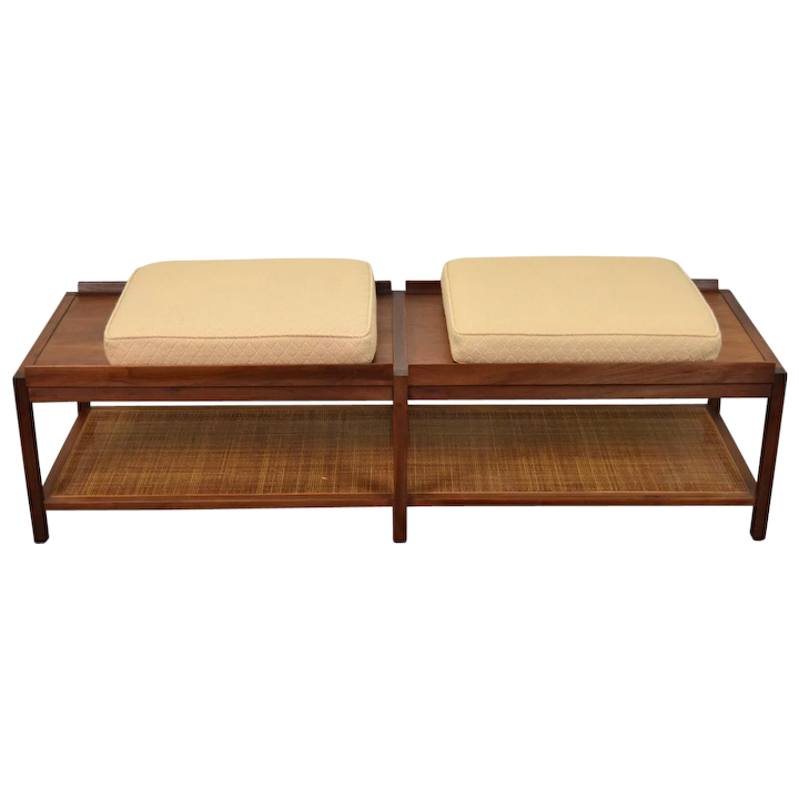Miraculous Vintage Mid Century Modern Coffee Table Bench Caned Shelf Ncnpc Chair Design For Home Ncnpcorg