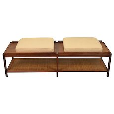 Vintage Mid-Century Modern Coffee Table Bench Caned Shelf