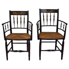 Antique Pair 19th Century Sheraton American Fancy Painted Armchairs