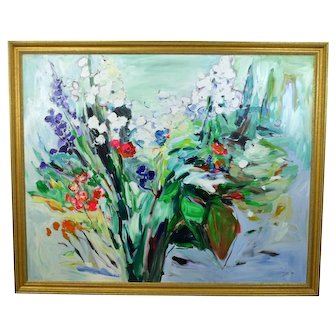 Huge Vintage Modern Abstract Floral Still Life Painting Signed Devy