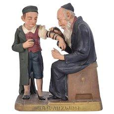 "Circa 1910 Czechoslovakia Terra Cotta Figural Sculpture ""Laying Tefillin"" Judaica"