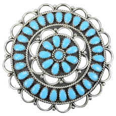 Navajo LMB Larry Begay Sterling Sunburst Cluster Turquoise Brooch Pin Pendant