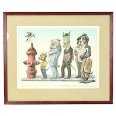 "Curt Frankenstein ""The Slow-Poke"" Hand Colored Etching Dog People Peeing"