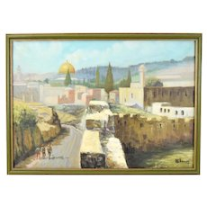 Vintage Oil Painting 3 Figures Walking Toward Dome of the Rock Jerusalem signed