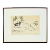 Circa 1900 Artist's Proof Etching Reclining Nude Woman Signed