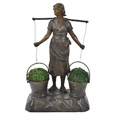 1920s German Spelter Lamp Woman Carrying Baskets of Czech Glass Flowers
