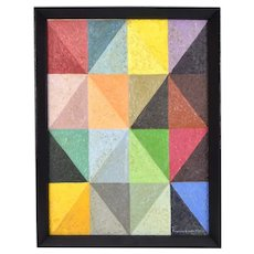Vintage Mid-Century Modern Geometric Abstract Triangles Oil Painting