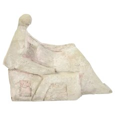 Vintage Modern Abstract Sculpture Cubist Woman in Repose Katie O'Neil Chicago