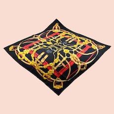 "Vintage Hermes ""Grand Manege"" Pattern French Silk Scarf Original box"