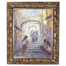1960s Shmuel Lamm Impressionist Oil Painting Old City Jerusalem Israeli Artist