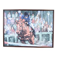 Lee Reynolds Mid-Century Modern Abstract Cubist Jockey Horse Racing Painting
