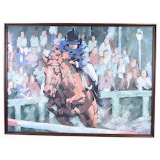 Lee Reynolds Mid-Century Modern Abstract Cubist Jockey Horse Racing Painting