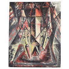 1950's Architectural Cubist Abstract Bird's Eye View of Cathedral Painting Signed