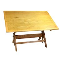 Vintage Hamilton Oak Tilting Drafting Table w Industrial Hardware