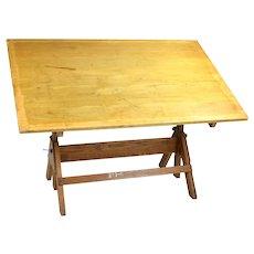 Vintage Hamilton Oak Tilting Drafting Table w Industrial Hardware