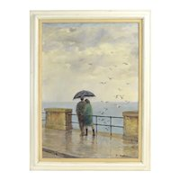 Circa 1950's Oil Painting Couple Under Umbrella watching Seagulls in Rain